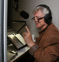 Photo Caption: Victor Persik, one of JBI's Russian narrators, records a JBI Talking Book in our sound studios